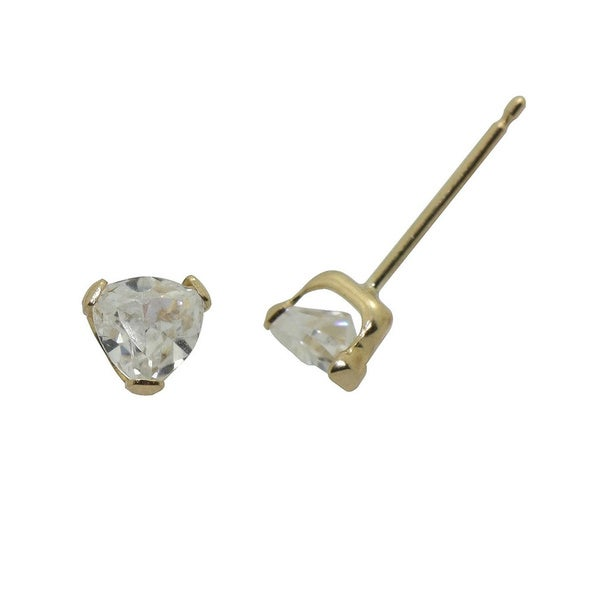 Gioelli 14k Yellow Gold Triangle Stud Earrings