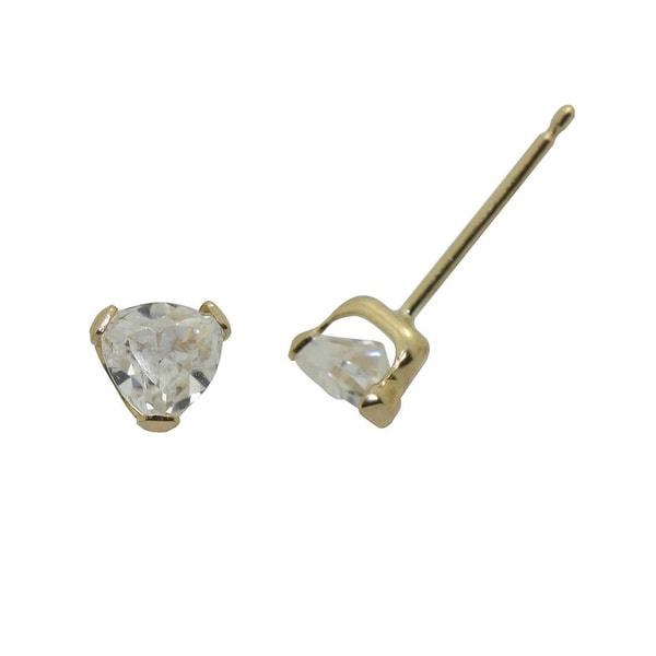 Gioelli 14k Yellow Gold Triangle Stud Earrings