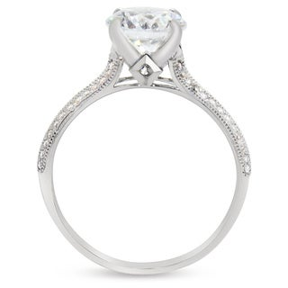 Gioelli 10k White Gold Round Cubic Zirconia Engagement Ring