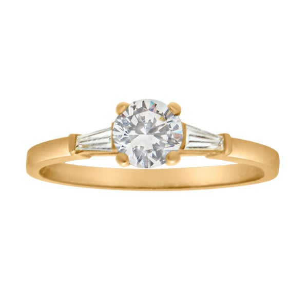 Gioelli 10k Yellow Gold Round Cubic Zirconia Dainty Ring (Size 8)