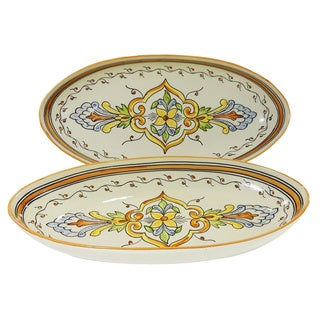 Le Souk Ceramique Salvena Design Large Oval Platters (Set of 2)