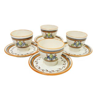 Le Souk Ceramique Salvena Design Tea/ Espresso Cup and Saucer (Set of 4)