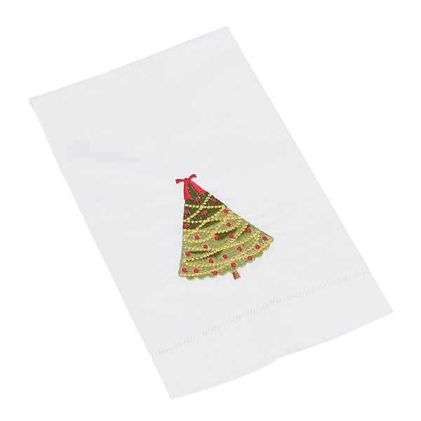 Hemstitched Xmas Tree Towel - Set of 4