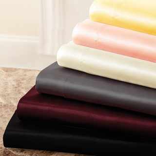 4-piece Solid Satin Sheet Set