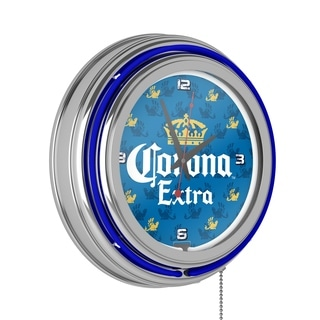 Corona Chrome Double Rung Neon Clock - Griffin