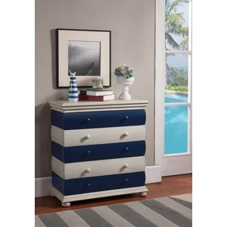 Treasure Trove Accents Bayano Blue and Ivory Three Drawer Chest