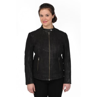 Excelled Women's Sueded Leather Scuba Shoulder Quilting Jacket