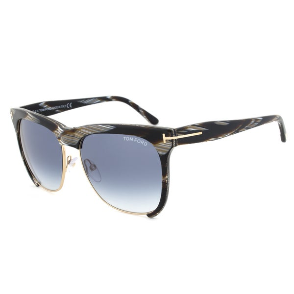 Tom Ford TF366 60B Thea Gold/Brown Striped Sunglasses