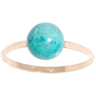 Pori 14k Yellow Gold Genuine Turquoise Gemstone Ball Ring