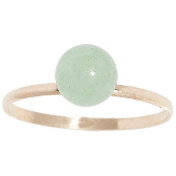 14k Yellow Gold Genuine Light Green Jade Gemstone Ball Ring