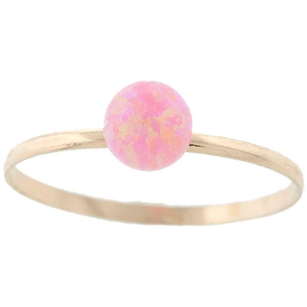 14k Yellow Gold Genuine Pink Quartz Gemstone Ball Ring