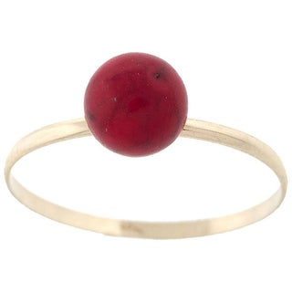 Pori 14k Yellow Gold Genuine Coral Gemstone Ball Ring