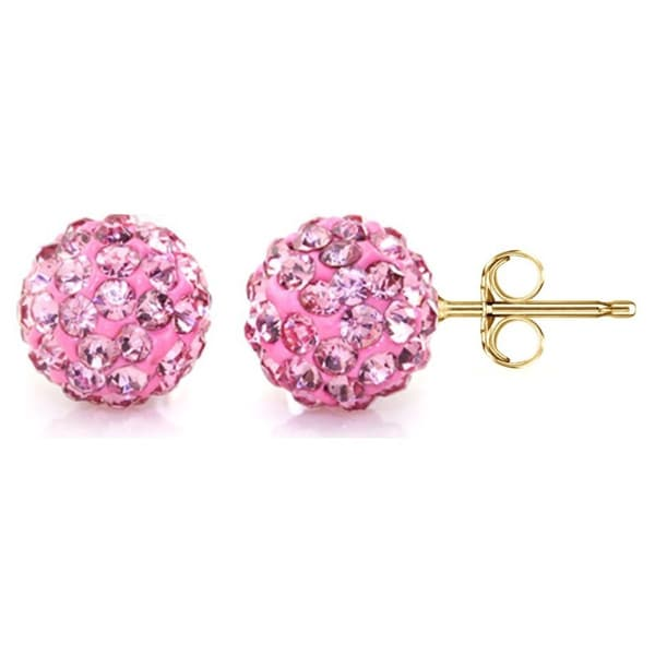 14k Yellow Gold Rose Pave Crystal 6mm Ball Stud Earrings