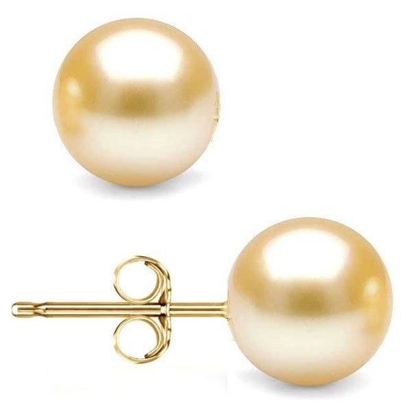 14k Yellow Gold Crystal Gold Pearl Ball Stud Earrings