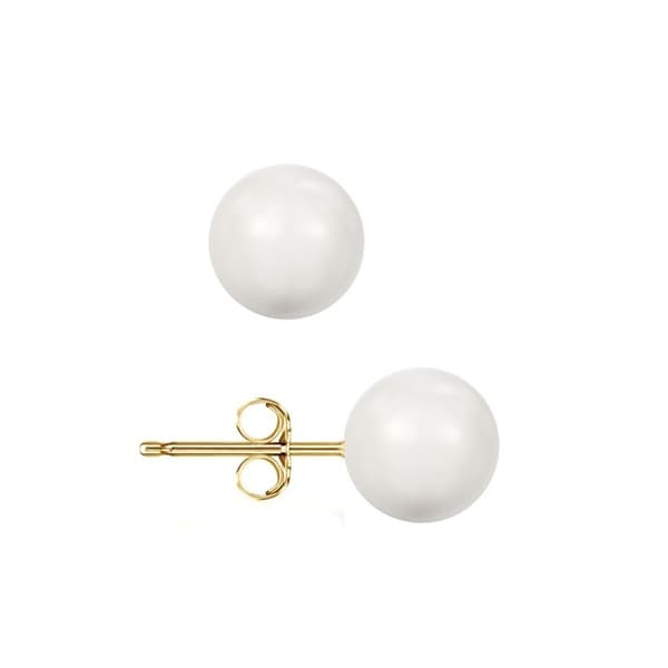 14k Yellow Gold Crystal White Pearl Ball Stud Earrings