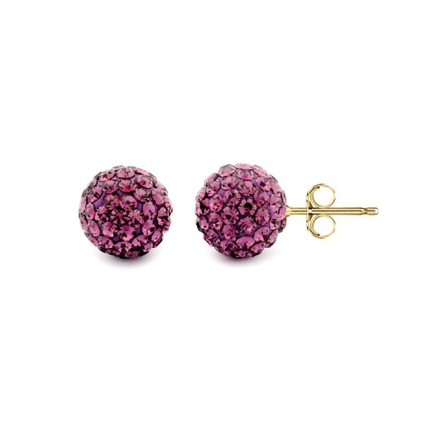 14k Yellow Gold Amethyst Pave Crystal 6mm Ball Stud Earrings