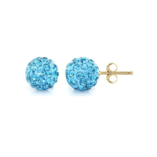 14k Yellow Gold Aquamarine Pave Crystal 6mm Ball Stud Earrings