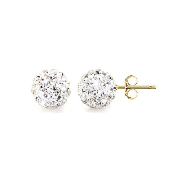 14k Yellow Gold Clear Pave Crystal 6mm Ball Stud Earrings