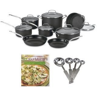Cuisinart 14-Piece Cookware Set + Stainless Steel Measuring Spoon Set + Cookbook