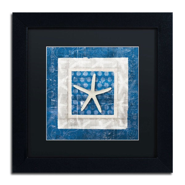 Belinda Aldrich 'Sea Shell IV on Blue' Black Matte, Black Framed Wall Art