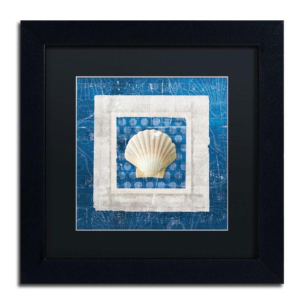 Belinda Aldrich 'Sea Shell III on Blue' Black Matte, Black Framed Wall Art