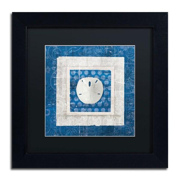 Belinda Aldrich 'Sea Shell I on Blue' Black Matte, Black Framed Wall Art