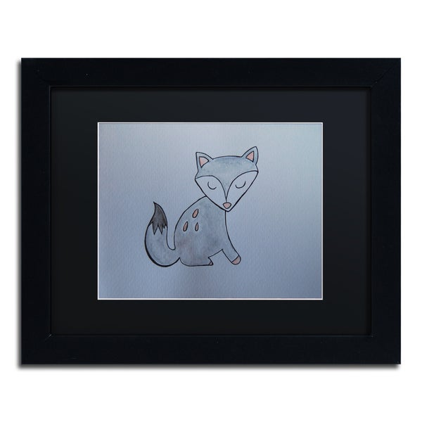 Nicole Dietz 'Gray Fox' Black Matte, Black Framed Wall Art