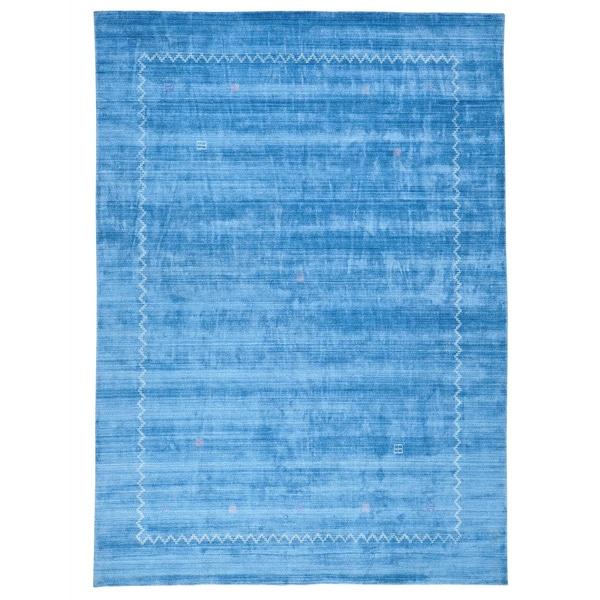 Hand Loomed Bamboo Silk Modern Gabbeh Sky Blue Rug (10' x 14')