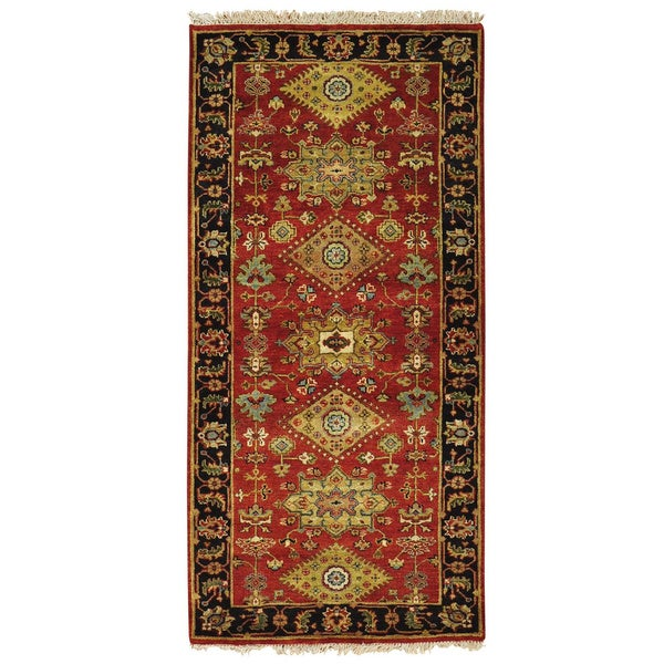 Runner Rust Red Karajeh 100 Percent Wool Hand Knotted Rug (2'10 x 6')