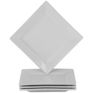 Beaded Square White Dinner Plate (Set of 4)