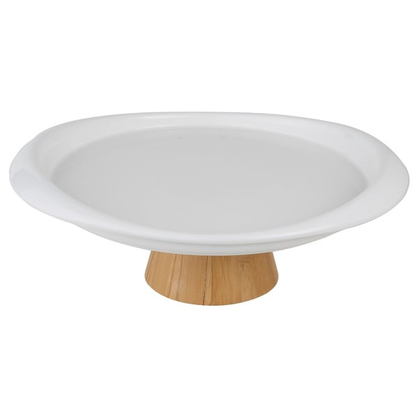 White Cake Stand with Wood Foot
