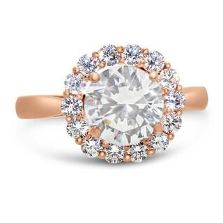 Gioelli 10k Rose Gold Cubic Zirconia Ring