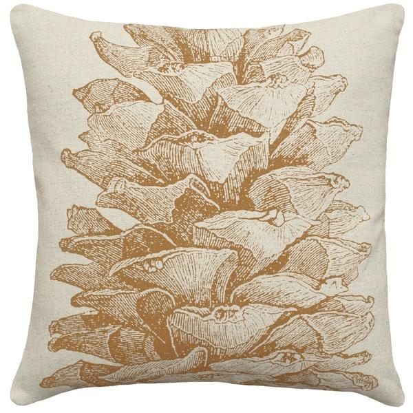 Caramel Pine Cone Hand-printed Linen 18-inch Throw Pillow