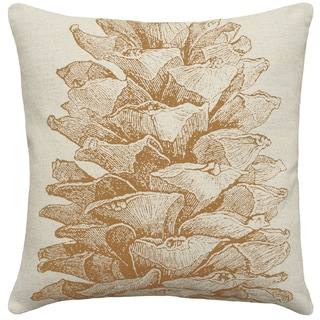 Caramel Pine Cone Hand-printed Linen 18-inch Throw Pillow