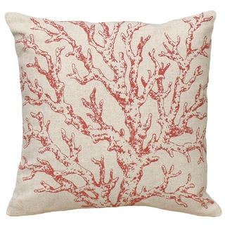 Red Coral Hand-printed Linen 18-inch Throw Pillow