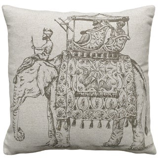 Elephant Hand-printed Linen 18-inch Throw Pillow