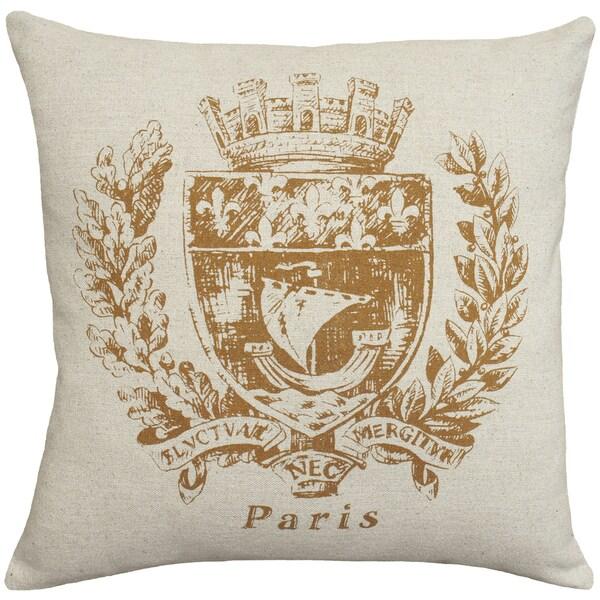 Caramel Paris Crest Hand-printed Linen 18-inch Throw Pillow