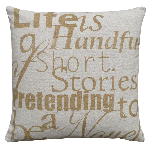 Life is a Handful Hand-printed Linen 18-inch Throw Pillow