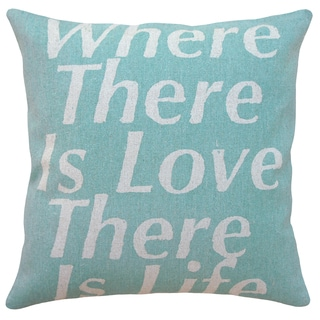 Where There is Love Hand-printed Feather and Down Filled Linen 18-inch Throw Pillow