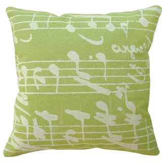 Chartreuse Sheet Music Hand-printed Linen 20-inch Throw Pillow