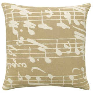 Beige Sheet Music Hand-printed Linen 20-inch Throw Pillow