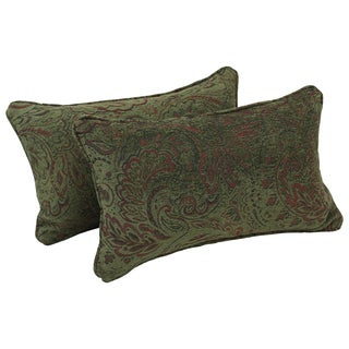 Blazing Needles Corded Floral Green Jacquard Chenille Rectangular Throw Pillows (Set of 2)