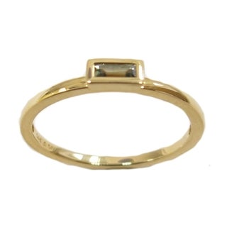 14k Yellow Gold Green Sapphire Stackable Ring