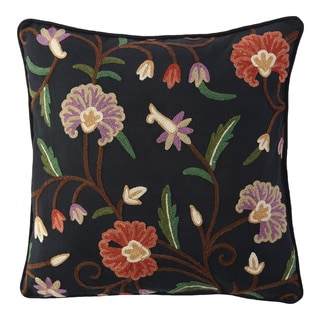 Handmade Crewel Floral Designer Cushion Cover (India)