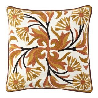 Handmade Chainstitch Black Floral Designer Cushion Cover (India)