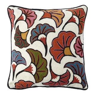 Handmade Chainstitch Multi Floral Designer Cushion Cover (India)