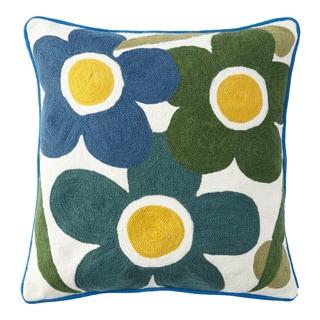 Handmade Chainstitch Flower Burst Cushion Cover (India)