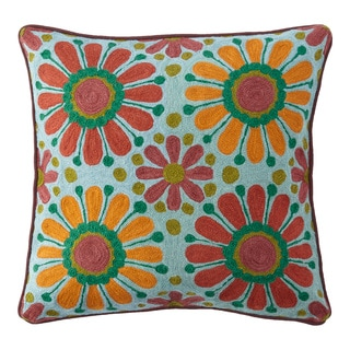 Handmade Chainstitch Floral Cushion Cover (India)