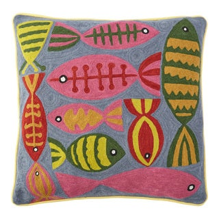 Handmade Chainstitch Fishes Cushion Cover (India)