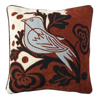 Handmade Chainstitch Bird Cushion Cover (India)